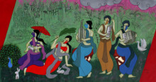 contemporary Acrylic Art Painting title 'Monsoon Festival' by artist Chetan Katigar