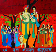Figurative Acrylic Art Painting title 'Dance of divine' by artist Chetan Katigar