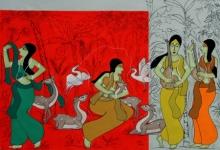 contemporary Acrylic Art Painting title Shakuntala by artist Chetan Katigar