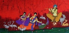 Figurative Acrylic Art Painting title 'The Flutist' by artist Chetan Katigar