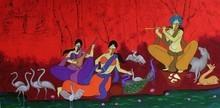 Figurative Acrylic Art Painting title 'The Flutist' by artist Chetan Katigar