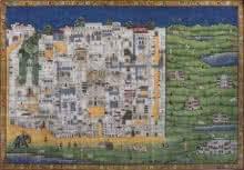 art, traditional, pichwai, cotton cloth, cityscape