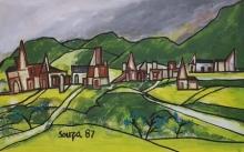 Landscape Oil Art Painting title Untitled 4 by artist F N Souza