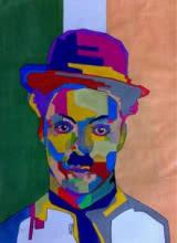 Portrait Acrylic Art Painting title Charlie Chaplin by artist Jay Ramani