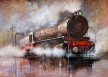 Locomotive16 | Painting by artist Kishore Pratim Biswas | acrylic | Canvas