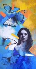 Figurative Acrylic Art Painting title She 12 24x48 W by artist Kishore Pratim Biswas