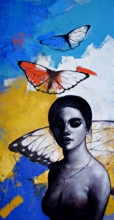 Figurative Acrylic Art Painting title 'Freedom of beauty 13' by artist Kishore Pratim Biswas