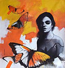 Figurative Acrylic Art Painting title Freedom of Beauty 16 by artist Kishore Pratim Biswas