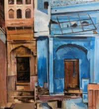 Cityscape Acrylic Art Painting title 'Forgotten Alleys' by artist Shagufta Mehdi