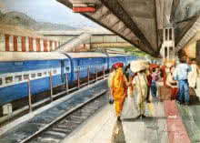 Figurative Watercolor Art Painting title 'Platform No 2' by artist Shagufta Mehdi