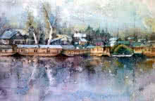 Dal Lake | Painting by artist Asit  Singh | watercolor | Paper