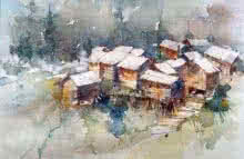 Gurez Valley, Kashmir | Painting by artist Asit  Singh | watercolor | Paper