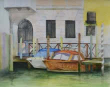Landscape Watercolor Art Painting title Venetian Hues I by artist Niharika Gupta