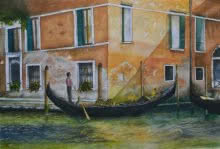 Landscape Watercolor Art Painting title Venetian Hues II by artist Niharika Gupta