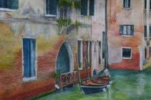 Landscape Watercolor Art Painting title Venetian Hues III by artist Niharika Gupta