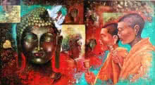 Arjun Das | Acrylic Painting title Buddha And Monk 9 on Canvas | Artist Arjun Das Gallery | ArtZolo.com