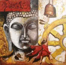Arjun Das | Acrylic Painting title Buddha And Monk Child 12 on Canvas | Artist Arjun Das Gallery | ArtZolo.com