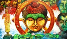 Arjun Das | Acrylic Painting title Devotion Of Buddha 4 on Canvas | Artist Arjun Das Gallery | ArtZolo.com