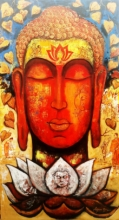 Religious Acrylic Art Painting title 'Devotion Of Buddha 4' by artist Arjun Das