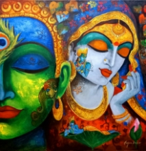 Religious Acrylic Art Painting title Devotion Of Krishna 10 by artist Arjun Das