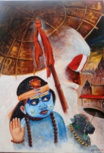 Religious Acrylic Art Painting title 'Devotion Of Varanasi' by artist Arjun Das