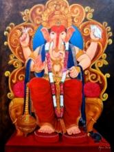Religious Acrylic Art Painting title Ganesha by artist Arjun Das
