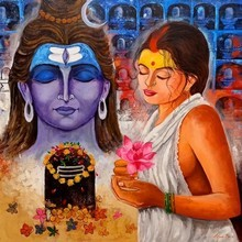 Religious Acrylic Art Painting title Pujarin Of Shiva by artist Arjun Das