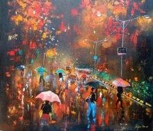 Rainy Day | Painting by artist Arjun Das | acrylic | Canvas