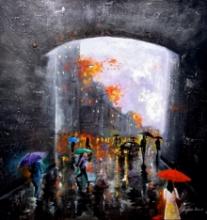Cityscape Acrylic Art Painting title Rainy Day 1 by artist Arjun Das