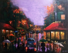 Cityscape Acrylic Art Painting title 'Rainy Day 6' by artist Arjun Das