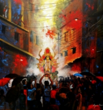 Cityscape Acrylic Art Painting title 'Rainy Day In Durga Puja' by artist Arjun Das