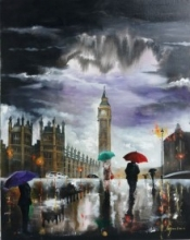 Rainy Day In London   Painting by artist Arjun Das   acrylic   canvas