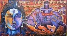 Religious Acrylic Art Painting title 'Shiv Nandi' by artist Arjun Das