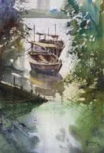 Docked Beauties | Painting by artist Gulshan Achari | watercolor | Paper