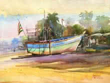 Seascape Watercolor Art Painting title Power Nap Watercolour by artist Gulshan Achari