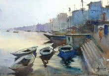 Seascape Watercolor Art Painting title 'The Morning Glow At Varanasi' by artist Gulshan Achari