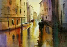 Seascape Watercolor Art Painting title 'Through The Alley' by artist Gulshan Achari