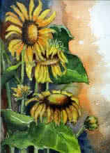 Krupa Shah Paintings | Watercolor Painting - Sun Flower I by artist Krupa Shah | ArtZolo.com