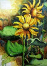 Krupa Shah Paintings | Watercolor Painting - Sun Flower II by artist Krupa Shah | ArtZolo.com