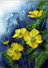 Krupa Shah Paintings | Watercolor Painting - Yellow Flowers by artist Krupa Shah | ArtZolo.com