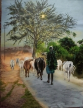 Landscape Acrylic Art Painting title Way to work by artist Lisha N T