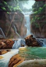 Landscape Acrylic Art Painting title Rhythm of water by artist Lisha N T