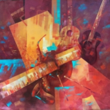 Abstract Acrylic Art Painting title The art of sound by artist Lisha N T