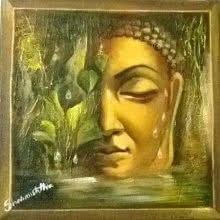 Buddha Beside Nature | Painting by artist Sharmishtha Sinha | acrylic | Canvas