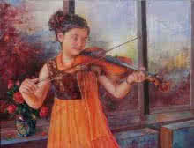 Figurative Oil Art Painting title 'Girl Learning Violin' by artist Mahesh RC