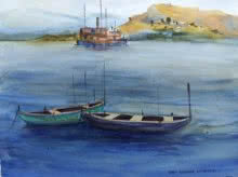 Landscape Watercolor Art Painting title 'Boats' by artist Kiran Gunjkar