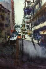 Kiran Gunjkar | Watercolor Painting title Cst ( Bora Bazar ) on Handmade Paper | Artist Kiran Gunjkar Gallery | ArtZolo.com