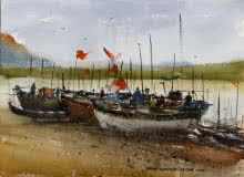 Kiran Gunjkar Paintings | Watercolor Painting - Boats by artist Kiran Gunjkar | ArtZolo.com