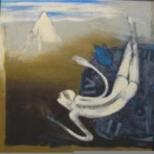 Pradip Kumar Sau | Acrylic Painting title Swim The Way on Canvas | Artist Pradip Kumar Sau Gallery | ArtZolo.com
