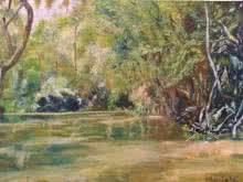 Landscape Oil Art Painting title 'A Forest Lake' by artist Manjula Dubey
